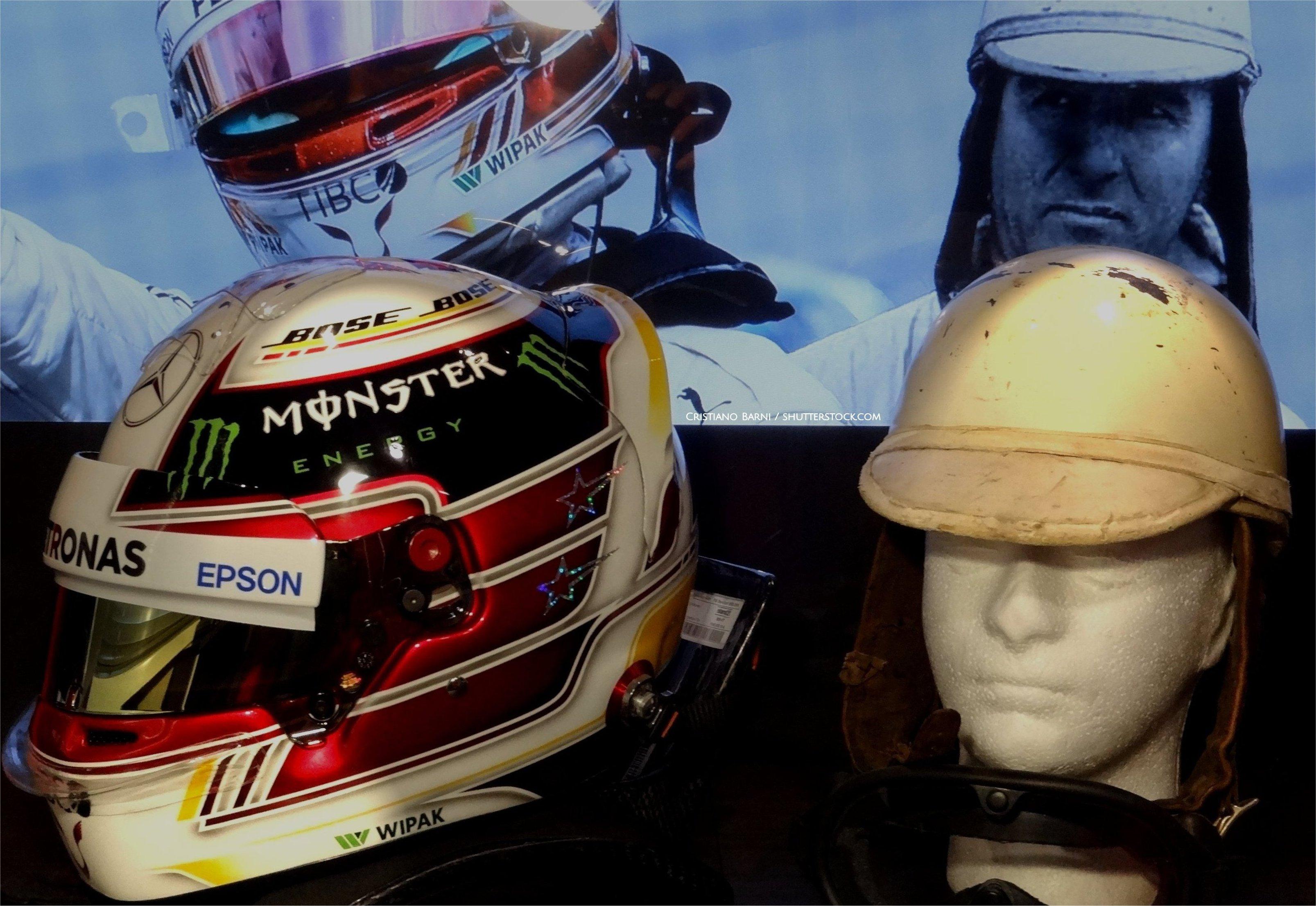 Lewis Hamilton Bell helmet 2018 and Giuseppe Farina Anderson helmet 1952