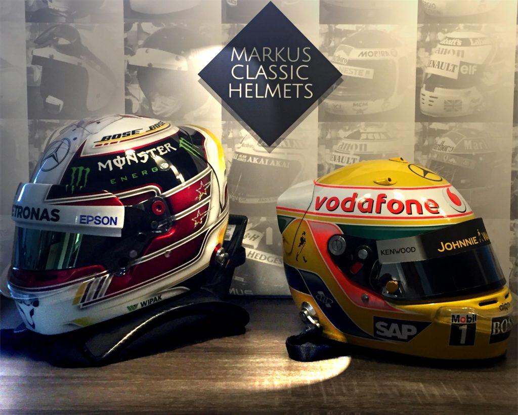 Lewis Hamilton Arai helmet and Bell helmet Formula One F1 World Champion