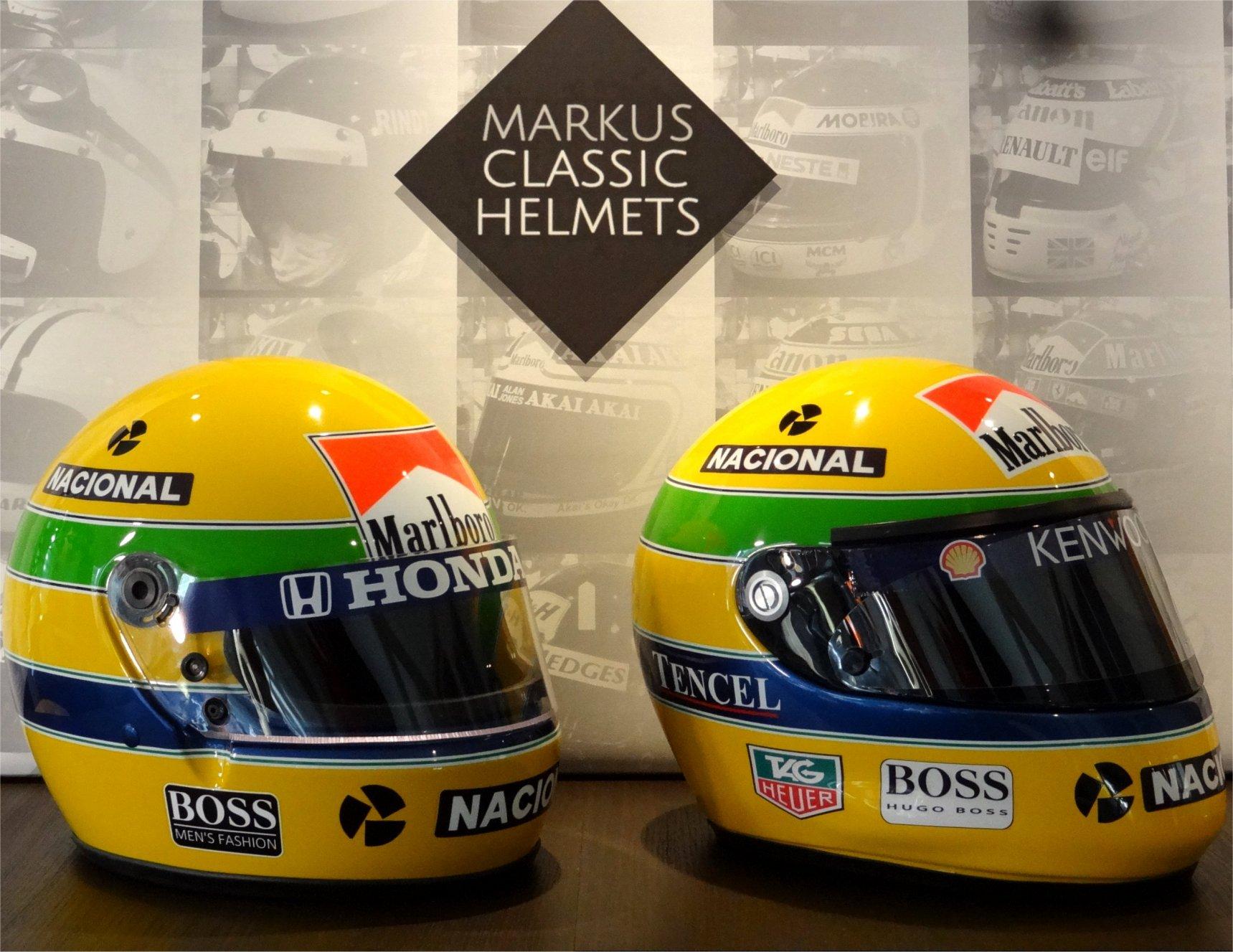 Ayrton Senna Bell helmet XFM1 and Senna Shoei helmet X4 Formula 1 F1